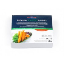 Torpedo breaded vannamei shrimps tail on 26-30 10x1 kg-VN